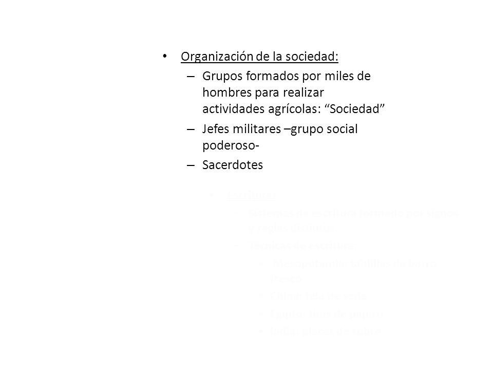 Organización de la sociedad: – Grupos formados por miles de hombres para realizar actividades agrícolas: Sociedad – Jefes militares –grupo social pode