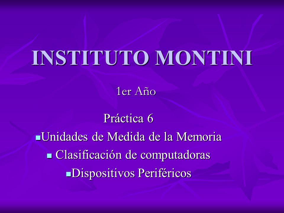 INSTITUTO MONTINI Práctica 6 Unidades de Medida de la Memoria Unidades de Medida de la Memoria Clasificación de computadoras Clasificación de computad