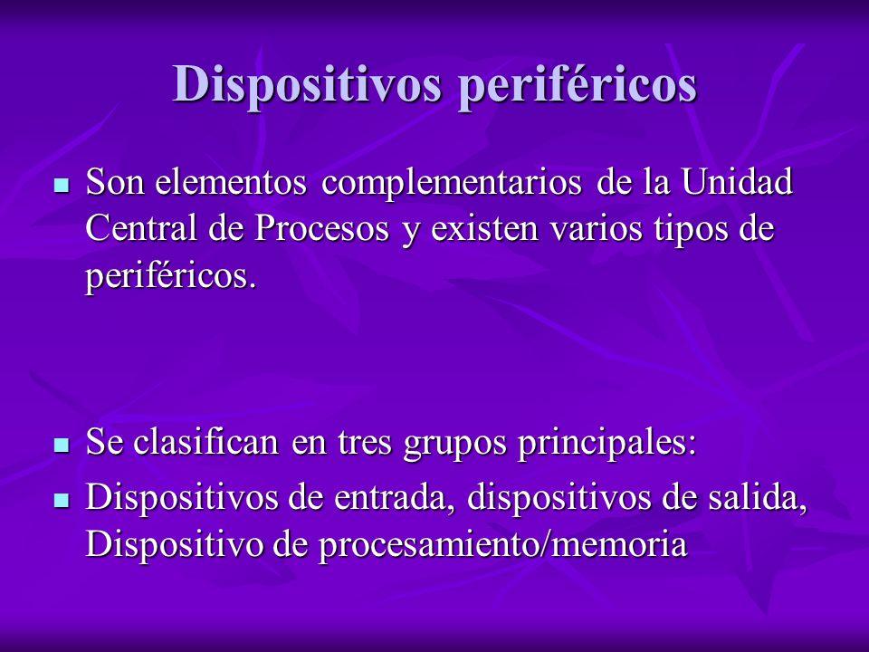 Dispositivos periféricos Son elementos complementarios de la Unidad Central de Procesos y existen varios tipos de periféricos. Son elementos complemen