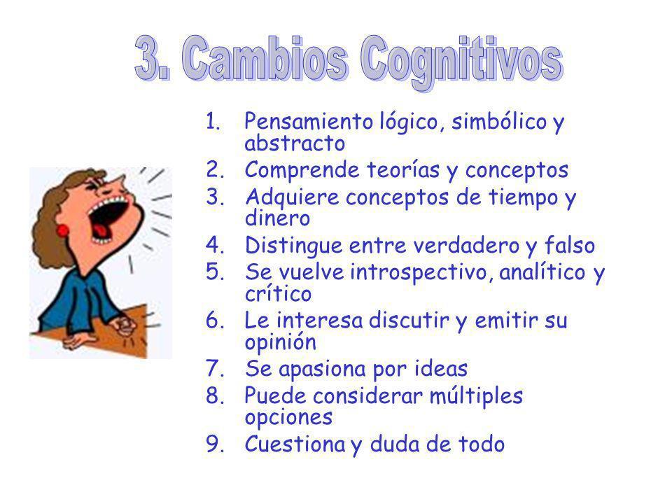 1.Pensamiento lógico, simbólico y abstracto 2.Comprende teorías y conceptos 3.Adquiere conceptos de tiempo y dinero 4.Distingue entre verdadero y fals