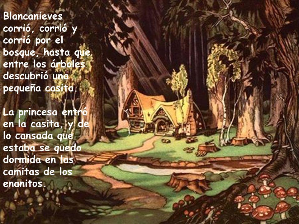 Blancanieves corrió, corrió y corrió por el bosque, hasta que entre los árboles descubrió una pequeña casita. La princesa entró en la casita, y de lo