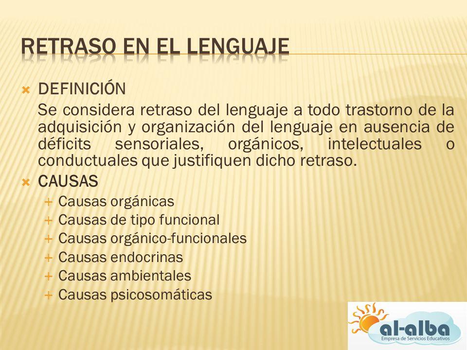 DEFINICIÓN Se considera retraso del lenguaje a todo trastorno de la adquisición y organización del lenguaje en ausencia de déficits sensoriales, orgán