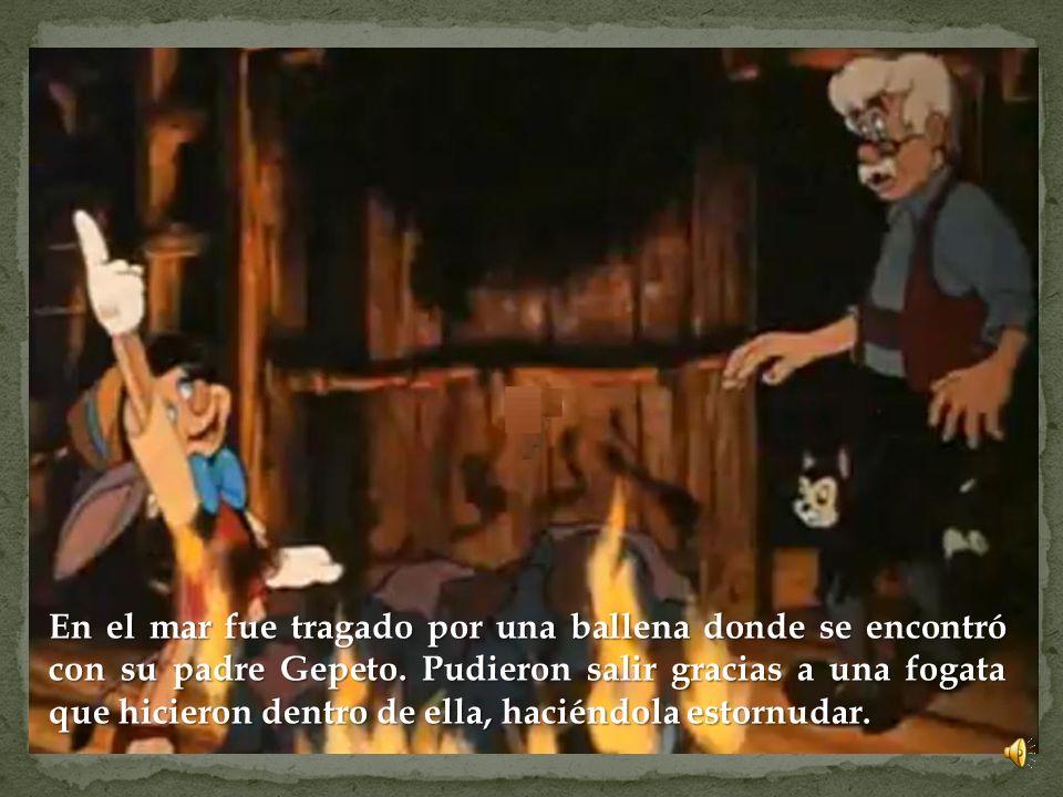 Cuando escapó de ese lugar, Pepito Grillo le informó de que su padre estaba buscándolo perdido en alta mar y saltaron desde un acantilado al mar para