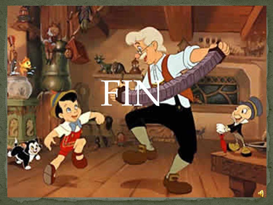 El padre se despertó orgulloso de tener el hijo que siempre había deseado y lo celebraron cantando y bailando. Pinocho nunca más volvió a desobedecer