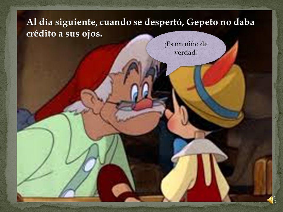 Aquella noche, Gepeto se quedó durmiendo deseando que su muñeco fuese un niño de verdad. Siempre había deseado tener un hijo. Cuando se encontraba pro