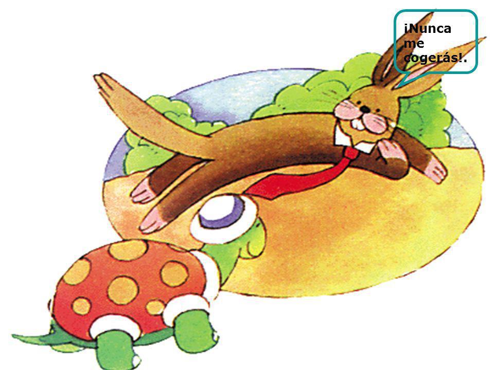 Cuando la tortuga pasó por su lado, la liebre aprovechó para burlarse de ella una vez más.