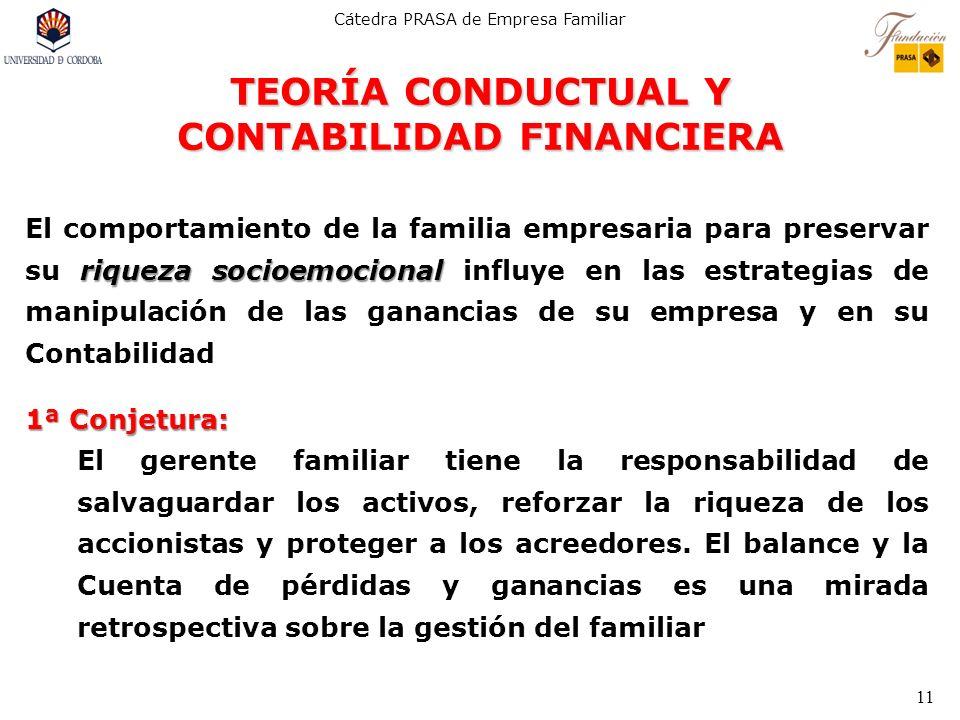 Cátedra PRASA de Empresa Familiar 11 TEORÍA CONDUCTUAL Y CONTABILIDAD FINANCIERA riqueza socioemocional El comportamiento de la familia empresaria par