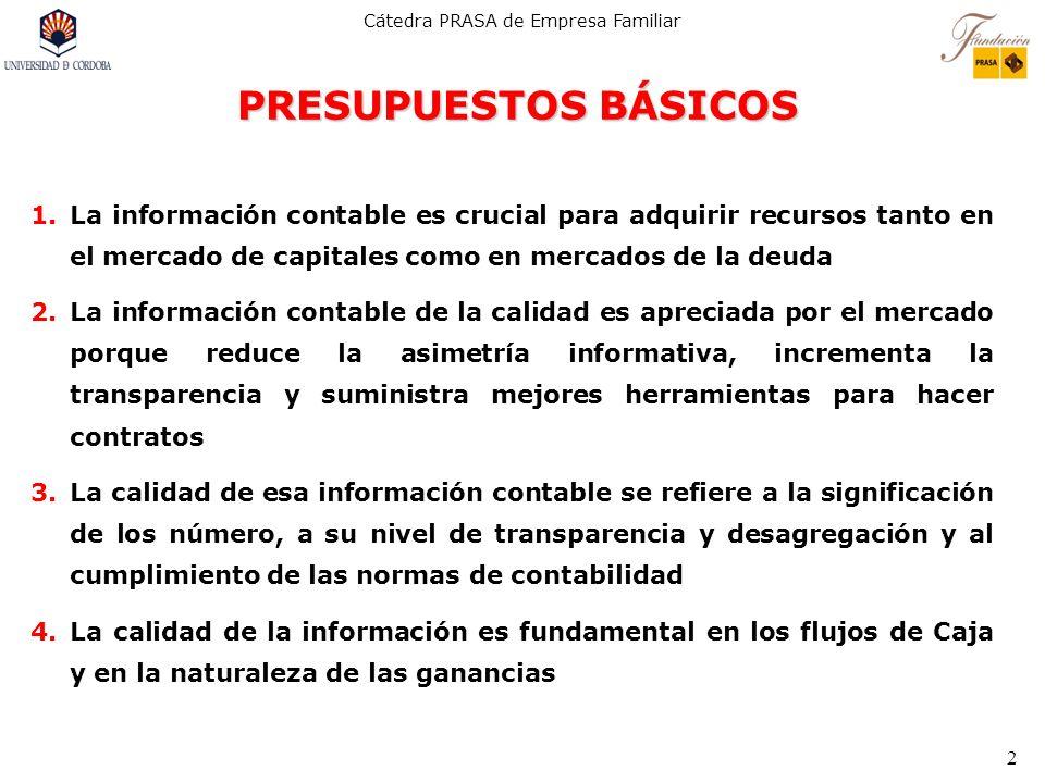 Cátedra PRASA de Empresa Familiar 2 PRESUPUESTOS BÁSICOS 1.La información contable es crucial para adquirir recursos tanto en el mercado de capitales