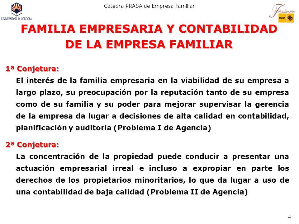 Cátedra PRASA de Empresa Familiar 4 FAMILIA EMPRESARIA Y CONTABILIDAD DE LA EMPRESA FAMILIAR 1ª Conjetura: El interés de la familia empresaria en la v