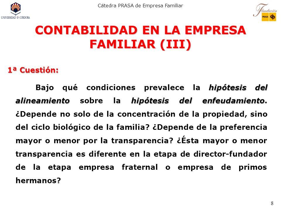 Cátedra PRASA de Empresa Familiar 8 CONTABILIDAD EN LA EMPRESA FAMILIAR (III) 1ª Cuestión: hipótesis del alineamientohipótesis del enfeudamiento Bajo
