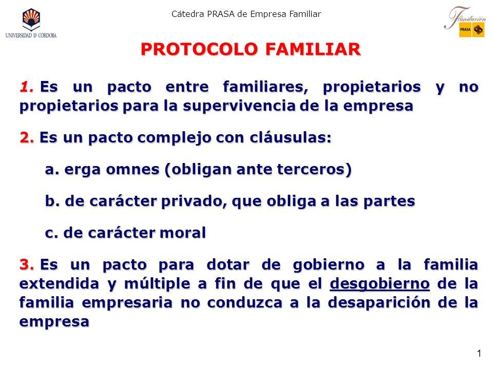 Cátedra PRASA de Empresa Familiar PROTOCOLO FAMILIAR Y CONTINUIDAD DE LA EMPRESA FAMILIAR Profesor Dr. José J. Rodríguez Alcaide Catedrático Emérito U