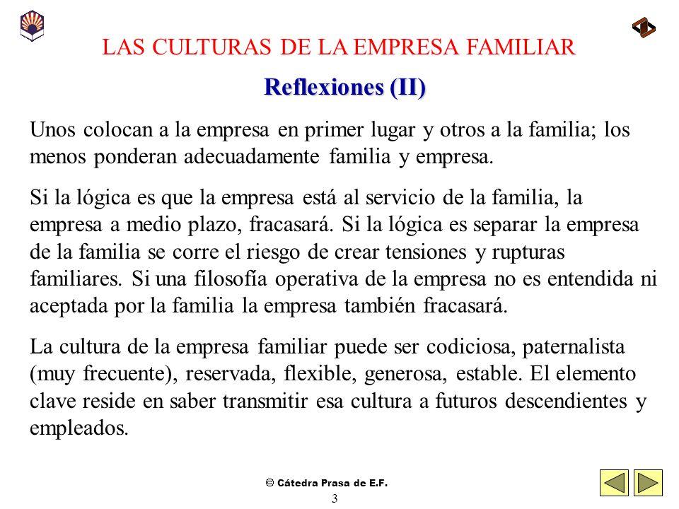 Cátedra Prasa de E.F. 2 LAS CULTURAS DE LA EMPRESA FAMILIAR Reflexiones (I) Así como la empresa capitalista refleja personalidades, la empresa familia