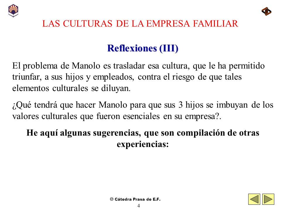 Cátedra Prasa de E.F. 3 LAS CULTURAS DE LA EMPRESA FAMILIAR Reflexiones (II) Unos colocan a la empresa en primer lugar y otros a la familia; los menos