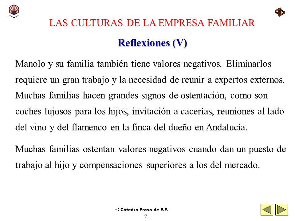 Cátedra Prasa de E.F. 6 LAS CULTURAS DE LA EMPRESA FAMILIAR Reflexiones (IV) 4. Anime a los miembros de la familia a asistir a reuniones de Consejo o