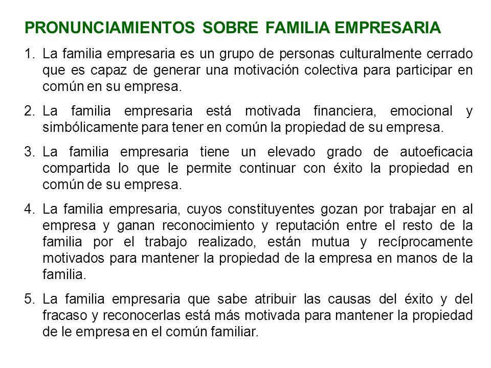 PRONUNCIAMIENTOS SOBRE FAMILIA EMPRESARIA 1.La familia empresaria es un grupo de personas culturalmente cerrado que es capaz de generar una motivación
