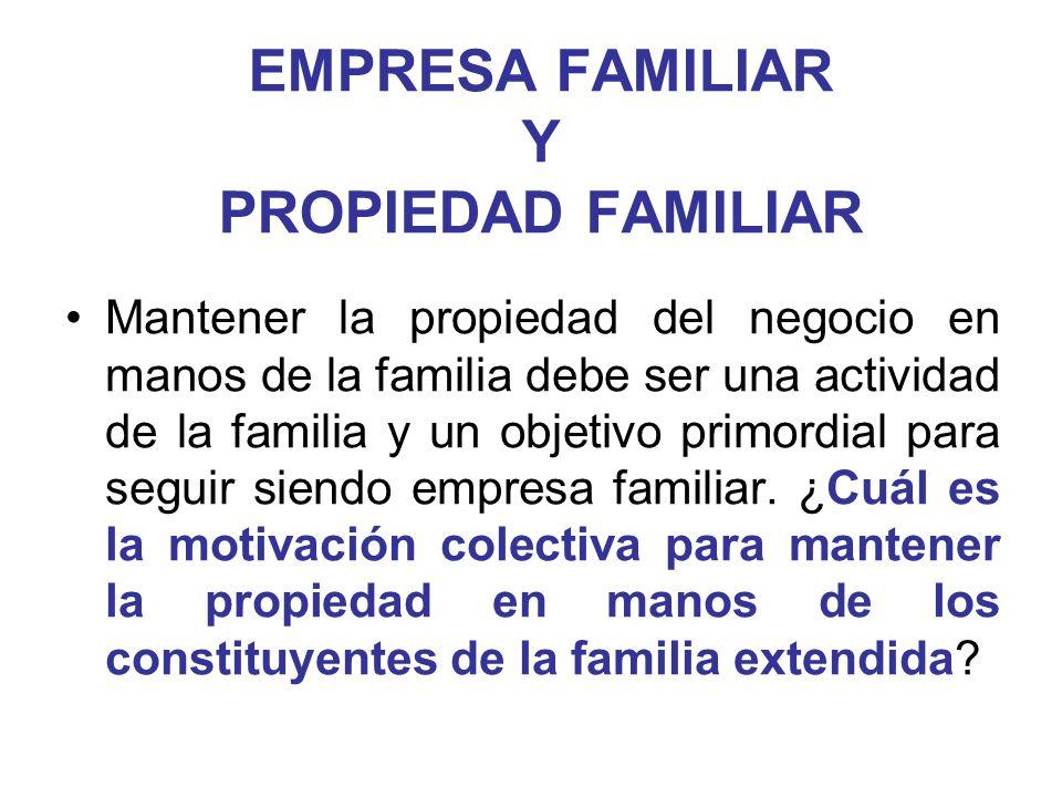 EMPRESA FAMILIAR Y PROPIEDAD FAMILIAR Mantener la propiedad del negocio en manos de la familia debe ser una actividad de la familia y un objetivo prim