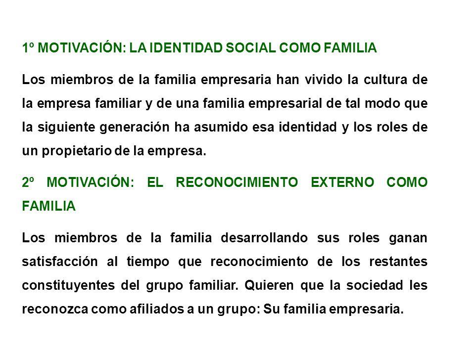 1º MOTIVACIÓN: LA IDENTIDAD SOCIAL COMO FAMILIA Los miembros de la familia empresaria han vivido la cultura de la empresa familiar y de una familia em