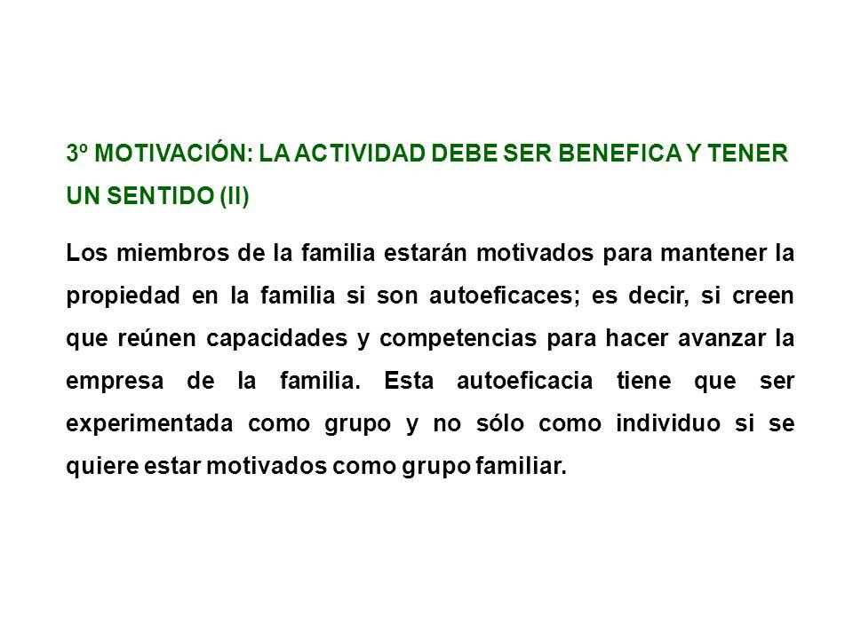 3º MOTIVACIÓN: LA ACTIVIDAD DEBE SER BENEFICA Y TENER UN SENTIDO (II) Los miembros de la familia estarán motivados para mantener la propiedad en la fa