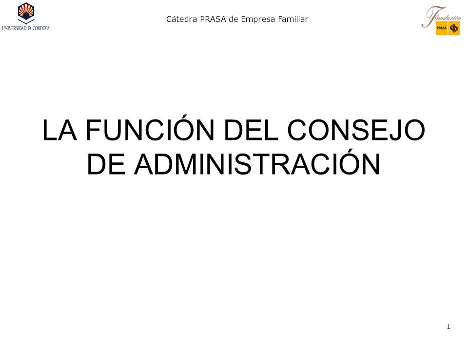 Cátedra PRASA de Empresa Familiar 2 LA FUNCIÓN DEL CONSEJO DE ADMINISTRACIÓN Desde la perspectiva externa a los ejecutivos: FUNCIÓN DE CONTROL.