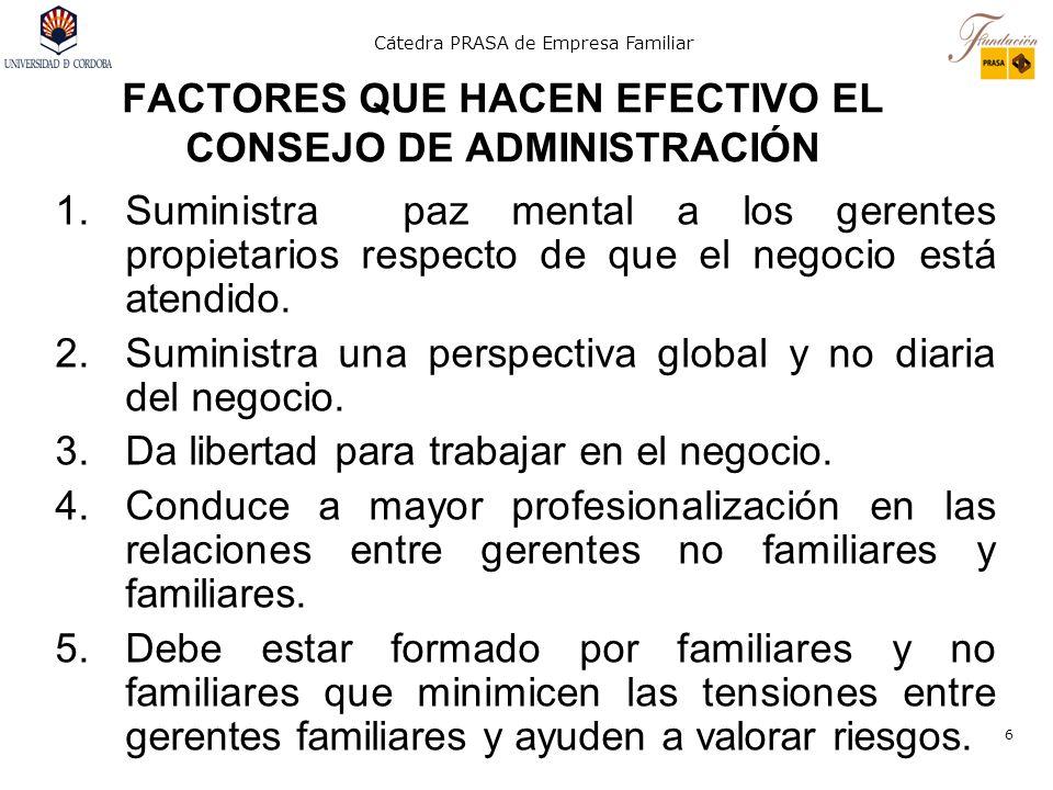 Cátedra PRASA de Empresa Familiar 6 FACTORES QUE HACEN EFECTIVO EL CONSEJO DE ADMINISTRACIÓN 1.Suministra paz mental a los gerentes propietarios respe