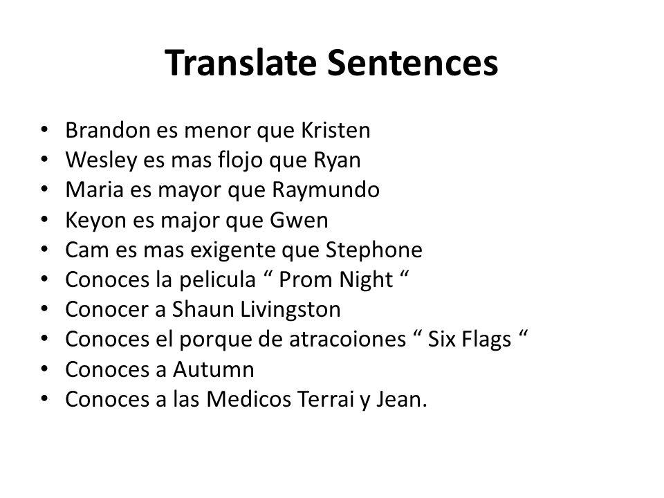 Translate Sentences Brandon es menor que Kristen Wesley es mas flojo que Ryan Maria es mayor que Raymundo Keyon es major que Gwen Cam es mas exigente