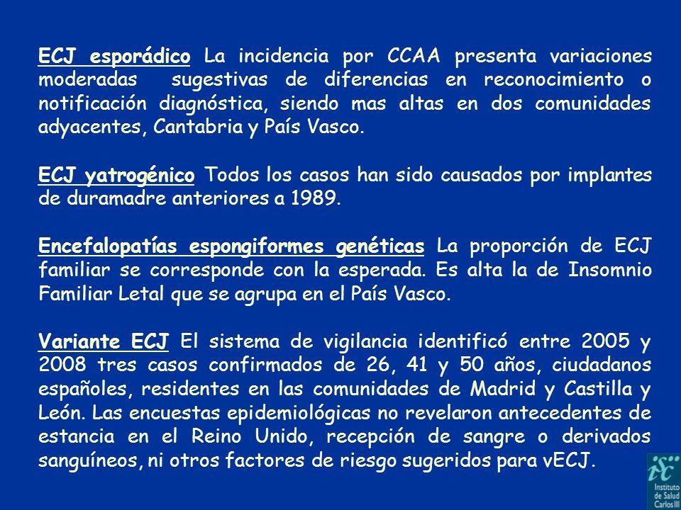 ECJ esporádico La incidencia por CCAA presenta variaciones moderadas sugestivas de diferencias en reconocimiento o notificación diagnóstica, siendo ma