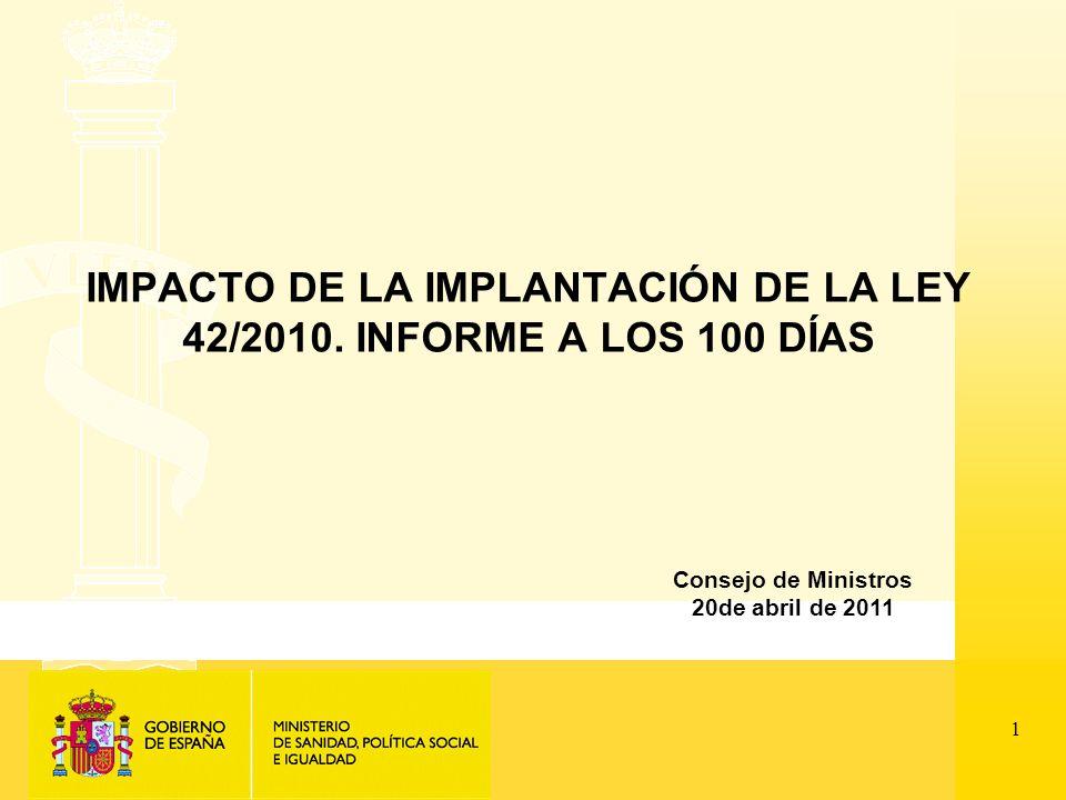 1 IMPACTO DE LA IMPLANTACIÓN DE LA LEY 42/2010.