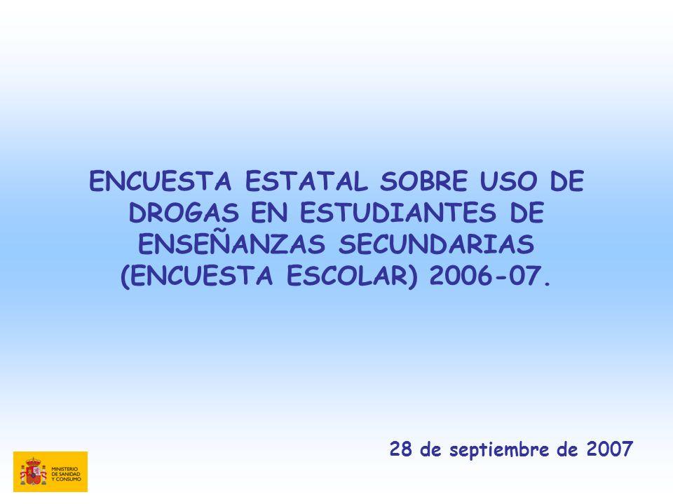 ENCUESTA ESTATAL SOBRE USO DE DROGAS EN ESTUDIANTES DE ENSEÑANZAS SECUNDARIAS (ENCUESTA ESCOLAR) 2006-07. 28 de septiembre de 2007