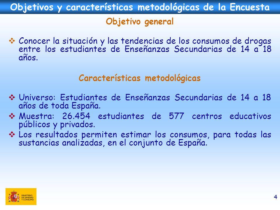 4 Objetivos y características metodológicas de la Encuesta Objetivo general Conocer la situación y las tendencias de los consumos de drogas entre los
