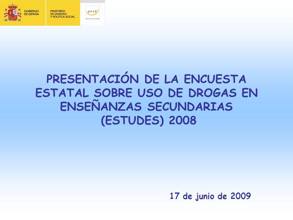 PRESENTACIÓN DE LA ENCUESTA ESTATAL SOBRE USO DE DROGAS EN ENSEÑANZAS SECUNDARIAS (ESTUDES) 2008 17 de junio de 2009