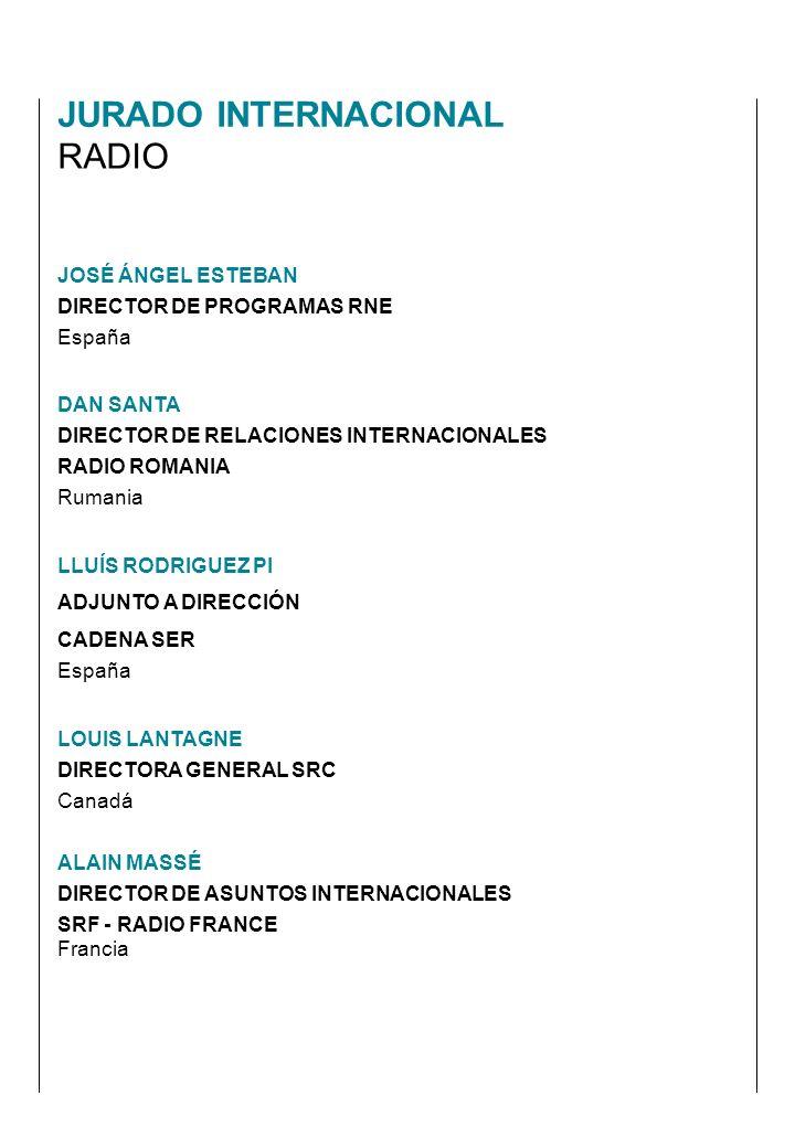 JOSÉ ÁNGEL ESTEBAN DIRECTOR DE PROGRAMAS RNE España DAN SANTA DIRECTOR DE RELACIONES INTERNACIONALES RADIO ROMANIA Rumania LLUÍS RODRIGUEZ PI ADJUNTO A DIRECCIÓN CADENA SER España LOUIS LANTAGNE DIRECTORA GENERAL SRC Canadá ALAIN MASSÉ DIRECTOR DE ASUNTOS INTERNACIONALES SRF - RADIO FRANCE Francia JURADO INTERNACIONAL RADIO
