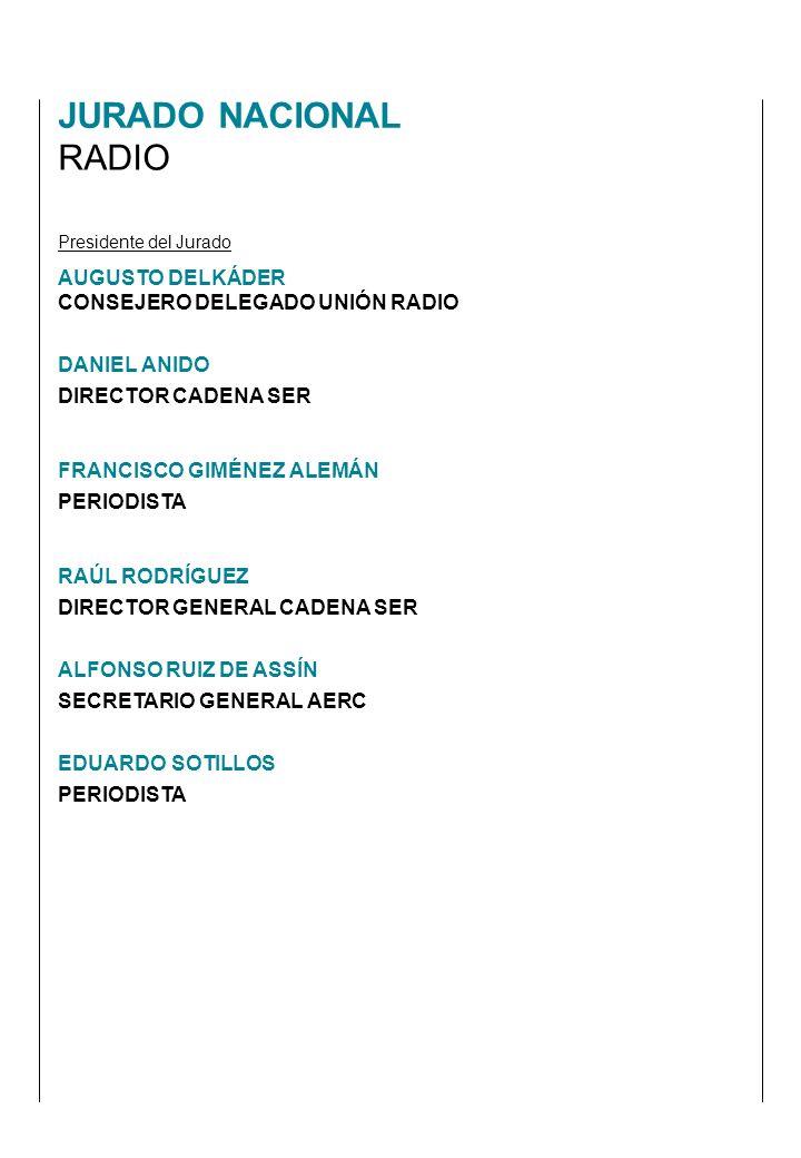 Presidente del Jurado AUGUSTO DELKÁDER CONSEJERO DELEGADO UNIÓN RADIO DANIEL ANIDO DIRECTOR CADENA SER FRANCISCO GIMÉNEZ ALEMÁN PERIODISTA RAÚL RODRÍGUEZ DIRECTOR GENERAL CADENA SER ALFONSO RUIZ DE ASSÍN SECRETARIO GENERAL AERC EDUARDO SOTILLOS PERIODISTA JURADO NACIONAL RADIO