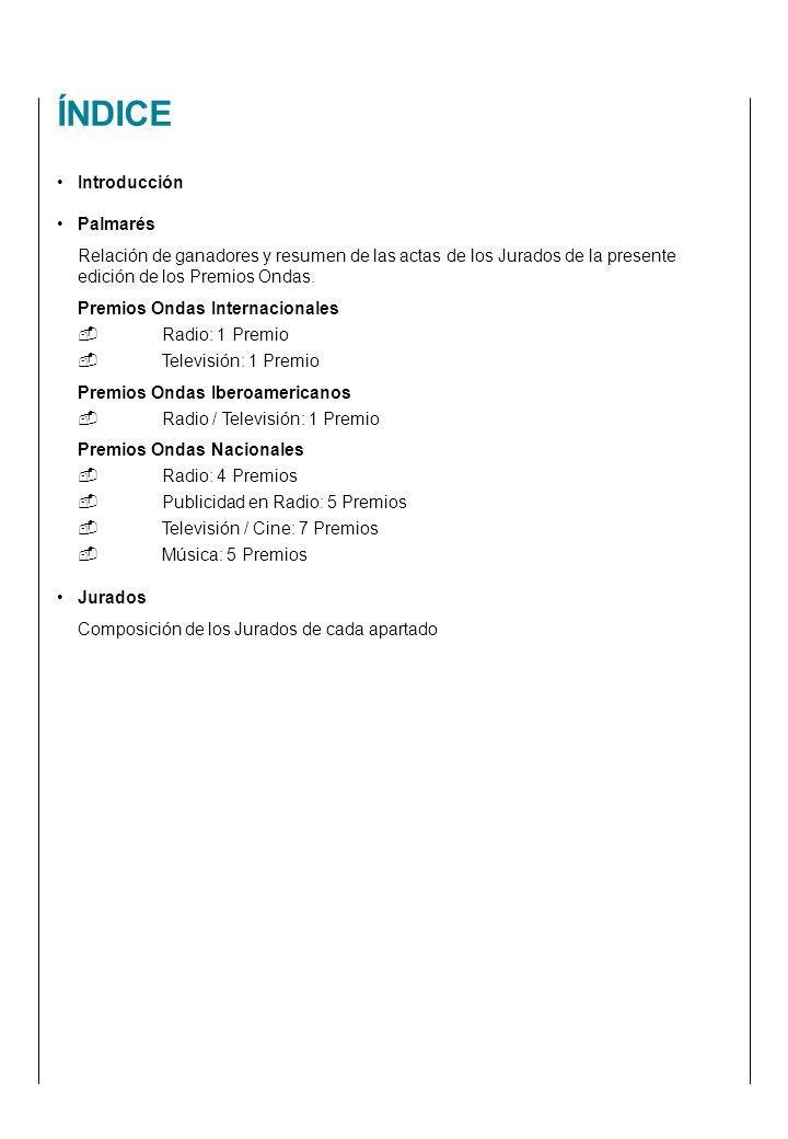 Introducción Palmarés Relación de ganadores y resumen de las actas de los Jurados de la presente edición de los Premios Ondas.