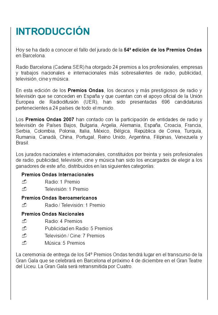 Hoy se ha dado a conocer el fallo del jurado de la 54ª edición de los Premios Ondas en Barcelona.