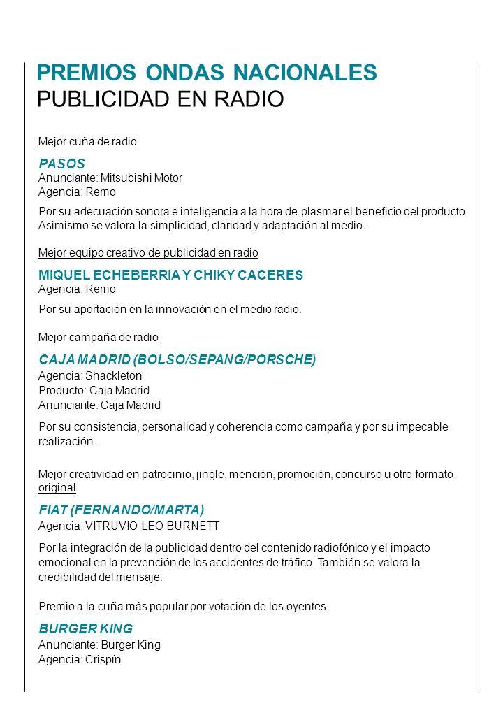 PREMIOS ONDAS NACIONALES PUBLICIDAD EN RADIO Mejor equipo creativo de publicidad en radio MIQUEL ECHEBERRIA Y CHIKY CACERES Agencia: Remo Por su aportación en la innovación en el medio radio.
