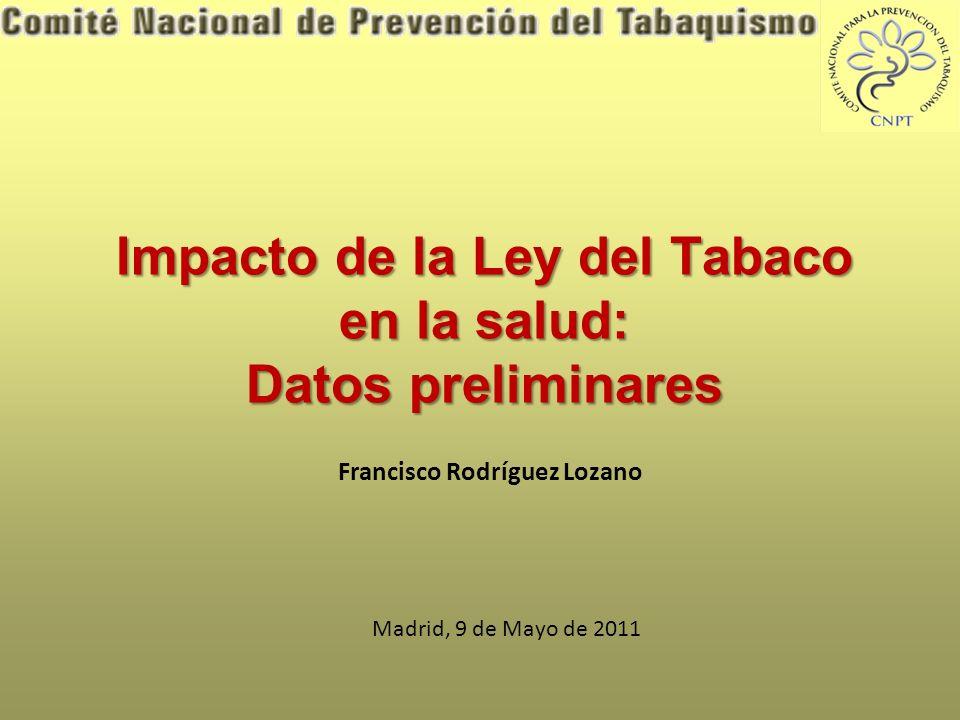 Impacto de la Ley del Tabaco en la salud: Datos preliminares Francisco Rodríguez Lozano Madrid, 9 de Mayo de 2011