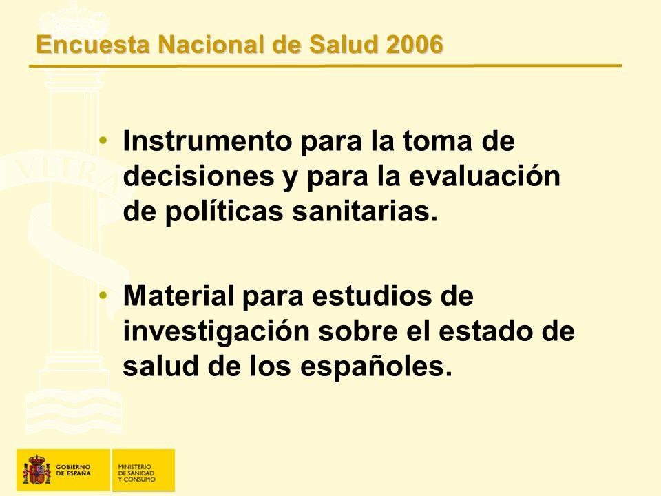 Instrumento para la toma de decisiones y para la evaluación de políticas sanitarias. Material para estudios de investigación sobre el estado de salud