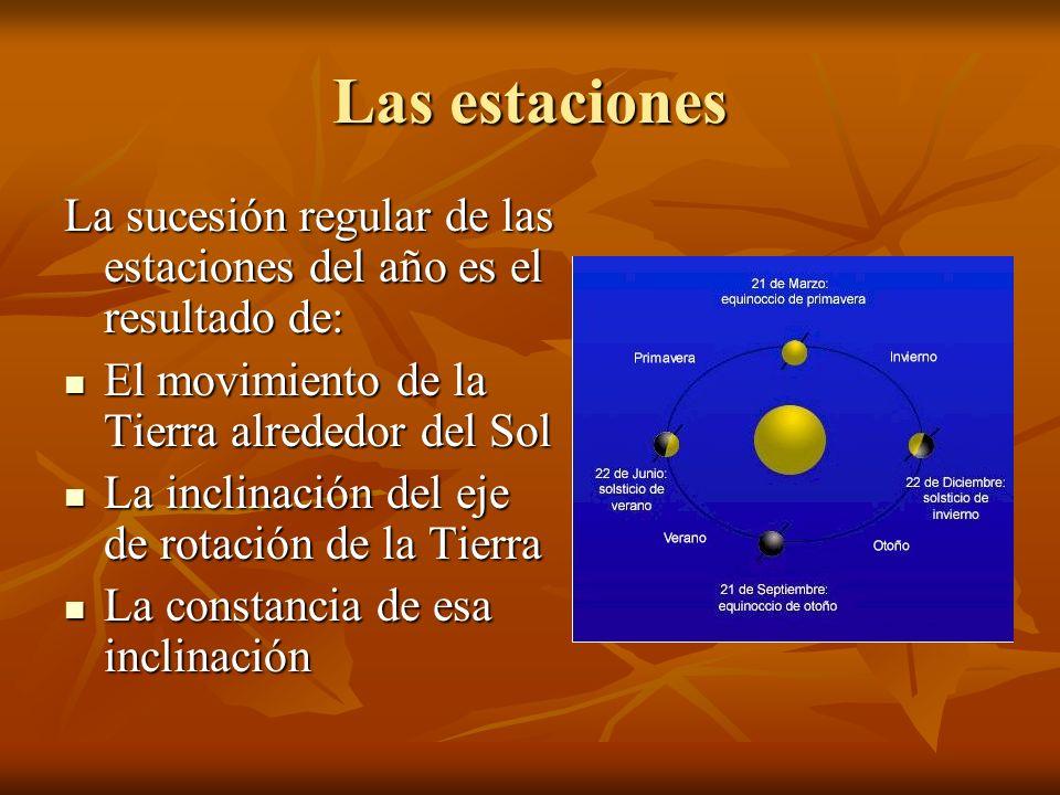 Las estaciones La sucesión regular de las estaciones del año es el resultado de: El movimiento de la Tierra alrededor del Sol El movimiento de la Tier