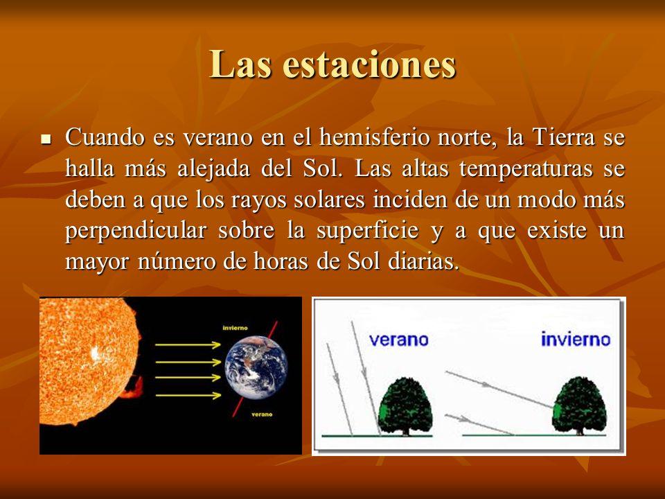 Las estaciones Cuando es verano en el hemisferio norte, la Tierra se halla más alejada del Sol. Las altas temperaturas se deben a que los rayos solare