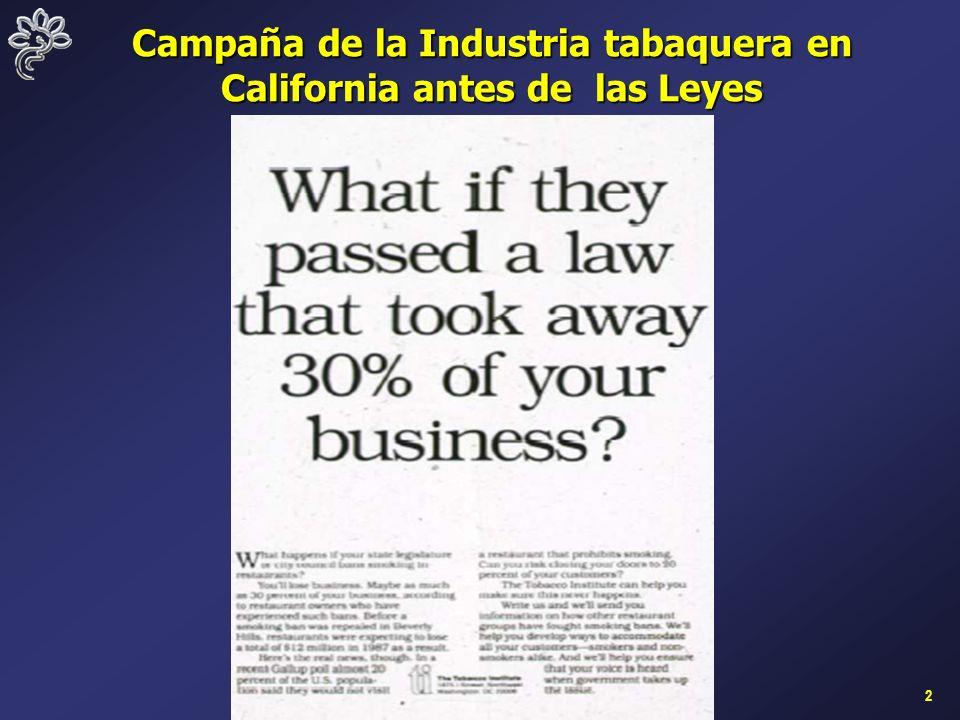 2 Campaña de la Industria tabaquera en California antes de las Leyes