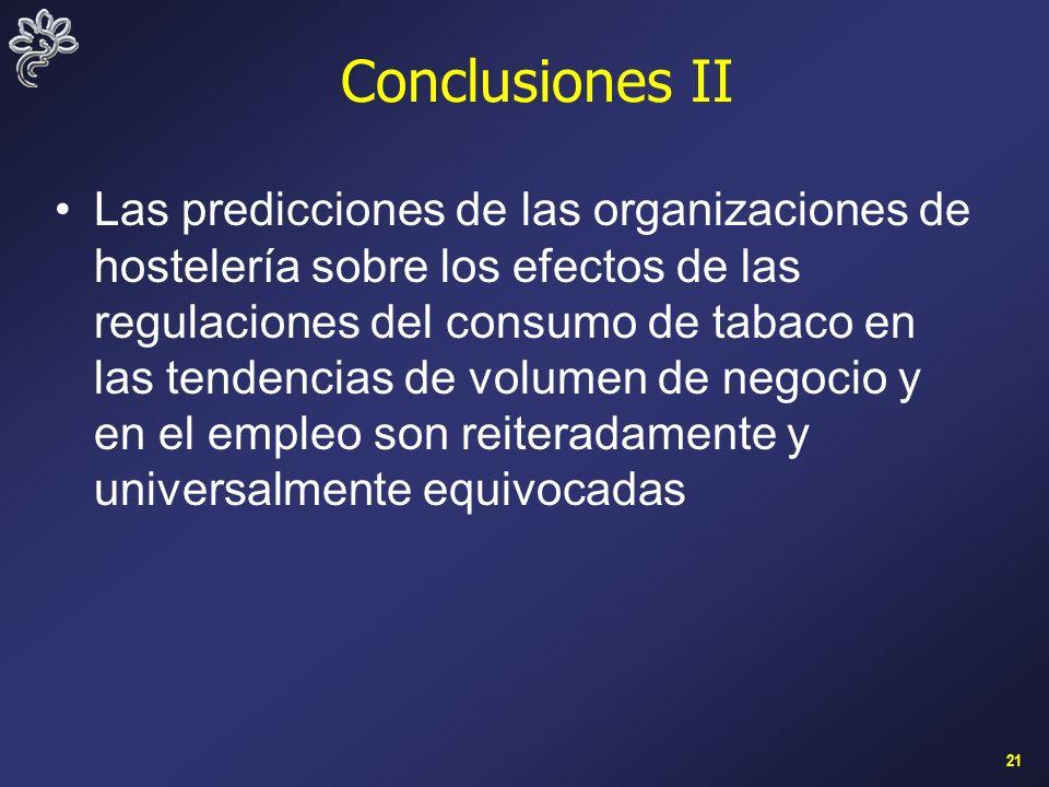 21 Conclusiones II Las predicciones de las organizaciones de hostelería sobre los efectos de las regulaciones del consumo de tabaco en las tendencias de volumen de negocio y en el empleo son reiteradamente y universalmente equivocadas