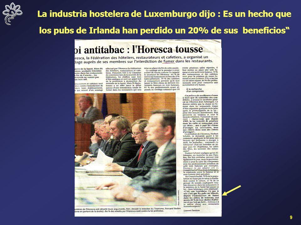 9 La industria hostelera de Luxemburgo dijo : Es un hecho que los pubs de Irlanda han perdido un 20% de sus beneficios