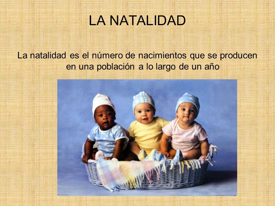 MEDICIÓN DE LA NATALIDAD Tasa de natalidad = nacimientos en un año x 1000 población total Tasa de fecundidad = nacimientos en un año x 1000 mujeres entre 15 y 49 años Número medio de hijos por mujer
