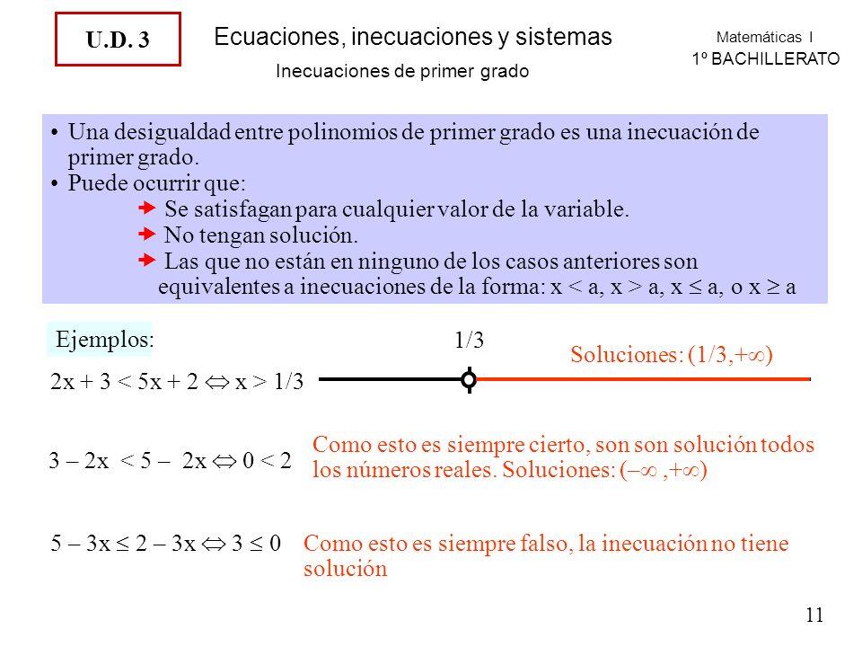 Matemáticas I 1º BACHILLERATO Ecuaciones, inecuaciones y sistemas Inecuaciones de primer grado Una desigualdad entre polinomios de primer grado es una inecuación de primer grado.