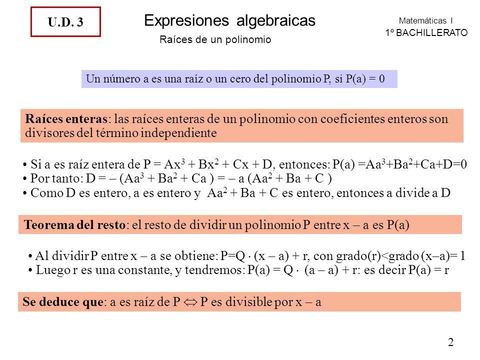 Matemáticas I 1º BACHILLERATO Expresiones algebraicas Raíces de un polinomio Un número a es una raíz o un cero del polinomio P, si P(a) = 0 Raíces enteras: las raíces enteras de un polinomio con coeficientes enteros son divisores del término independiente Si a es raíz entera de P = Ax 3 + Bx 2 + Cx + D, entonces: P(a) =Aa 3 +Ba 2 +Ca+D=0 Por tanto: D = – (Aa 3 + Ba 2 + Ca ) = – a (Aa 2 + Ba + C ) Como D es entero, a es entero y Aa 2 + Ba + C es entero, entonces a divide a D Teorema del resto: el resto de dividir un polinomio P entre x – a es P(a) Al dividir P entre x – a se obtiene: P=Q.