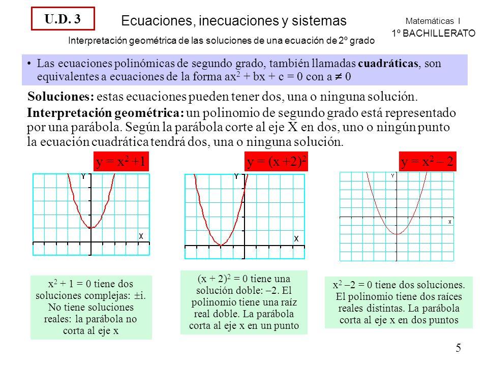 Matemáticas I 1º BACHILLERATO Ecuaciones, inecuaciones y sistemas Interpretación geométrica de las soluciones de una ecuación de 2º grado Las ecuaciones polinómicas de segundo grado, también llamadas cuadráticas, son equivalentes a ecuaciones de la forma ax 2 + bx + c = 0 con a 0 Soluciones: estas ecuaciones pueden tener dos, una o ninguna solución.
