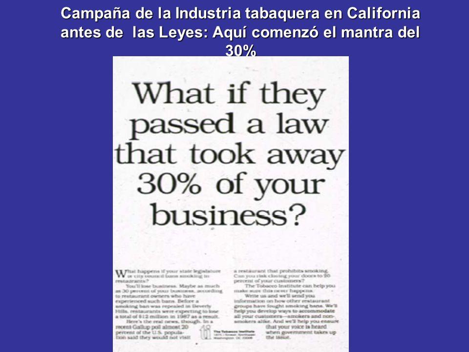 Campaña de la Industria tabaquera en California antes de las Leyes: Aquí comenzó el mantra del 30%