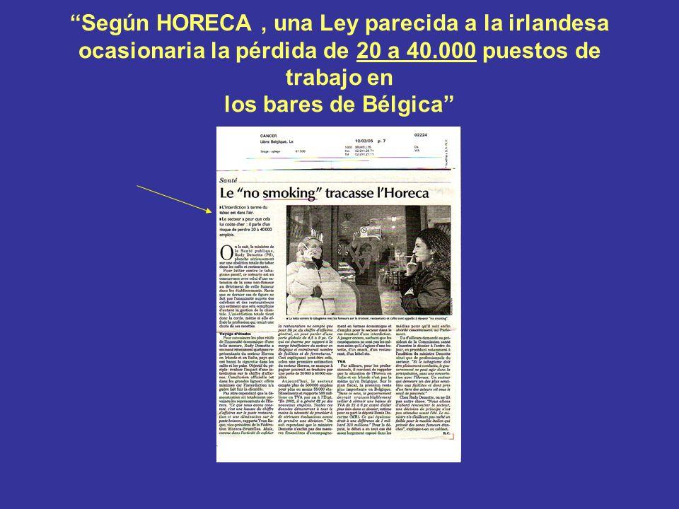 Según HORECA, una Ley parecida a la irlandesa ocasionaria la pérdida de 20 a 40.000 puestos de trabajo en los bares de Bélgica