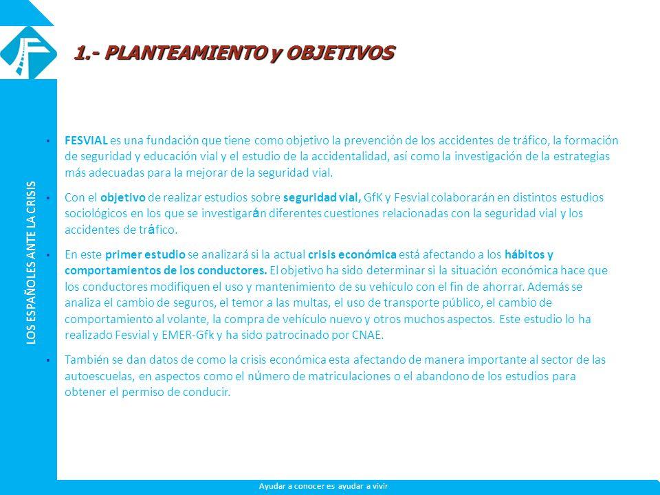 LOS ESPAÑOLES ANTE LA CRISIS Ayudar a conocer es ayudar a vivir FESVIAL es una fundación que tiene como objetivo la prevención de los accidentes de tr