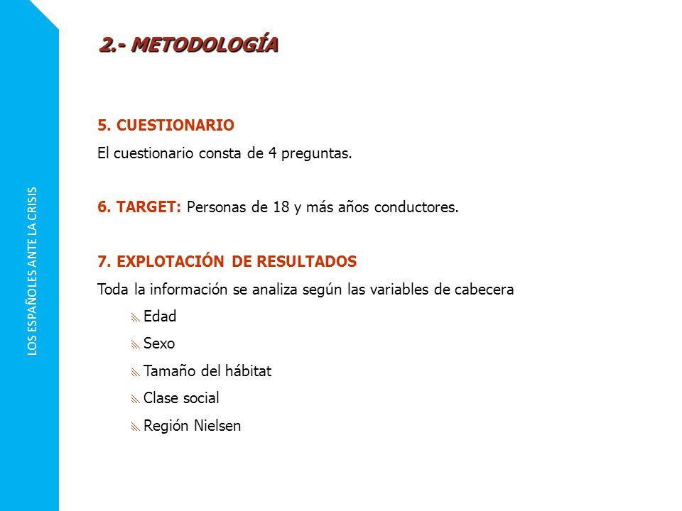 LOS ESPAÑOLES ANTE LA CRISIS 5. CUESTIONARIO El cuestionario consta de 4 preguntas. 6. TARGET: Personas de 18 y más años conductores. 7. EXPLOTACIÓN D